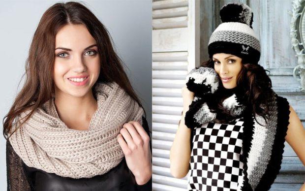 Модный шарф 2018 2019: вязаный коричневый серный с белым серым