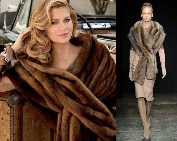 модный шарф 2018 2019: меховой коричневый