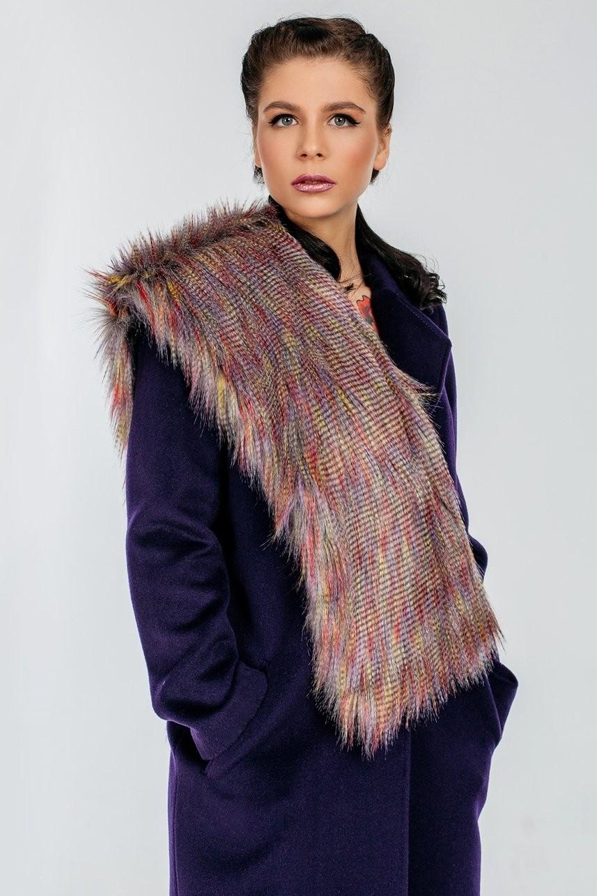 модный шарф 2018 2019: коричневый меховой прямой