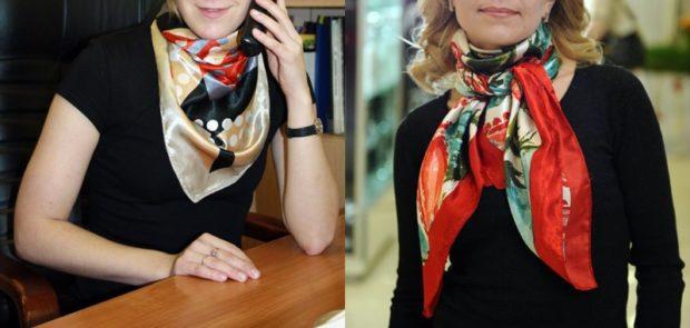 модный шарф 2018 2019: шелковый в принт