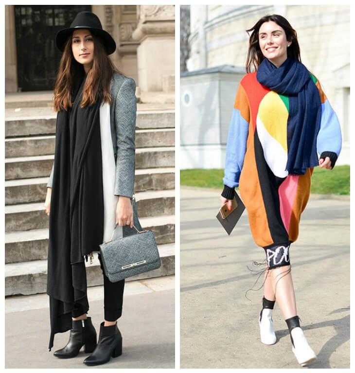 модный шарф 2018 2019: оверсайз черный огромный синий