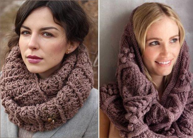 Модный шарф 2018 2019: хомут вязаный коричневый