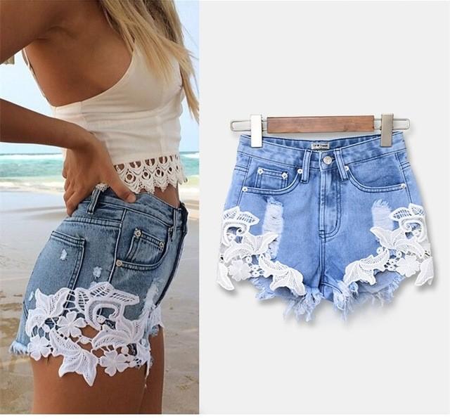модные женские шорты 2019: джинсовые с кружевом кроткие