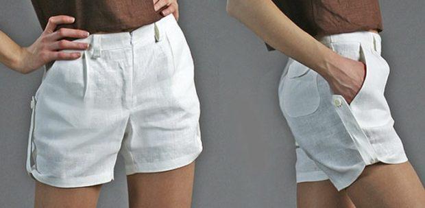модные шорты 2019-2020: белый лен