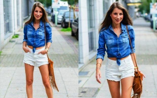 модные женские шорты 2019: белые короткие джинсовые