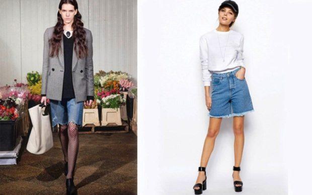 модные женские шорты 2019: джинсовые по колено синие