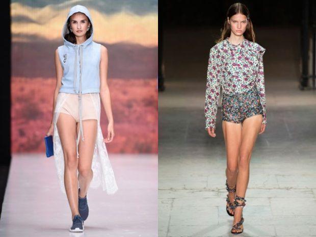 модные женские шорты 2020-2021: тканевые короткие светлые в цветы