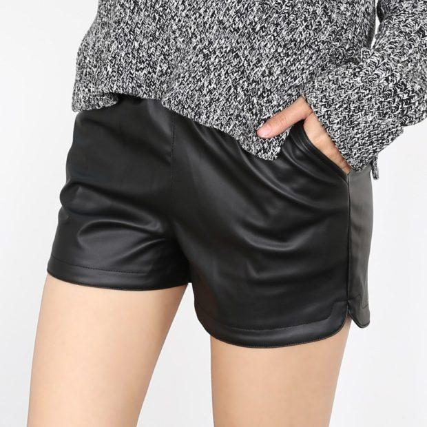 кожаные короткие с карманами