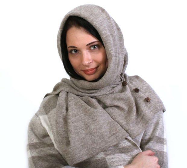 палантин с чем носить: серый как платок