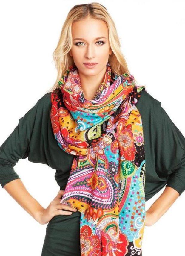 палантин как носить: цветное завязывать как шарф