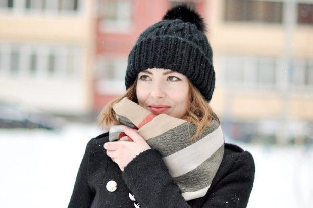 палантин с чем носить: завязанный как шарф под пальто