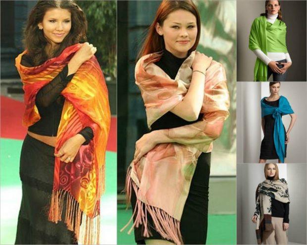 как носить палантин: цветные как вуаль