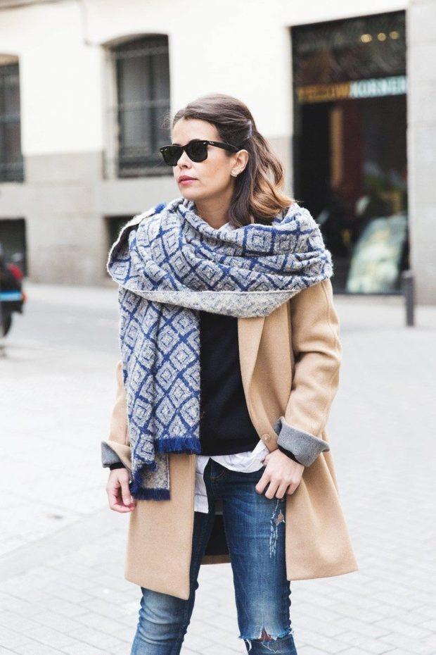 как носить палантин: легкий в принт на пальто