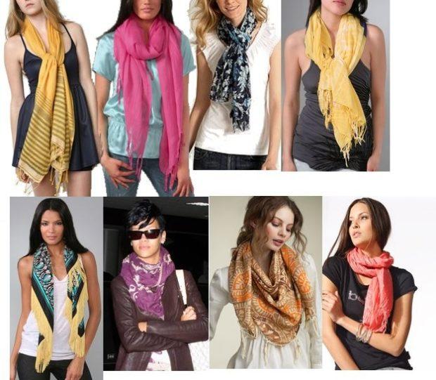 как носить палантин: из легкой ткани как шарфы на майки футболки