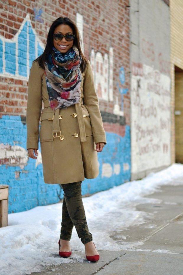палантин как носить: как шарф на пальто