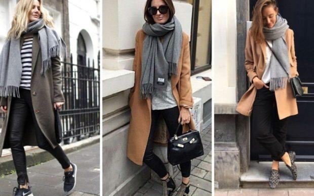 как носить палантин с пальто: серое коричневое шар со свободным краем