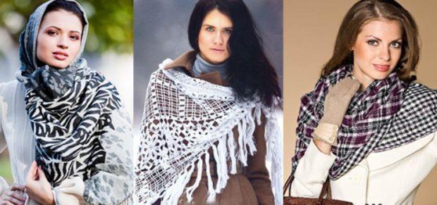 как носить палантин с пальто: косынка на плечо
