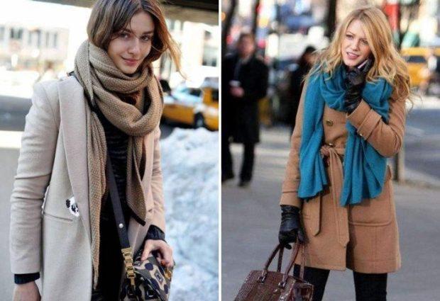 как носить палантин с пальто: шарф под низ наверх