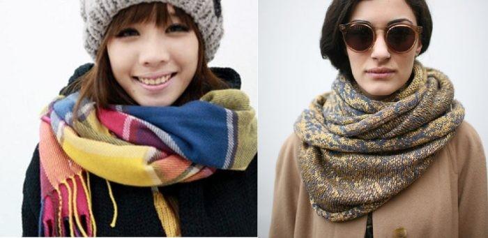 как носить палантин с пальто: намотанные как шарф