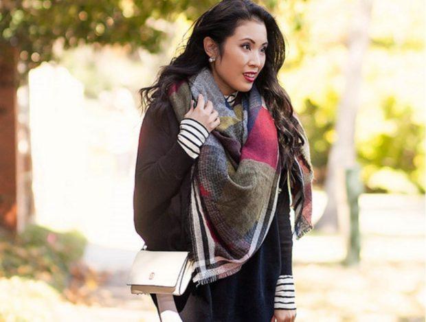 палантин как носить: цветной как шарф