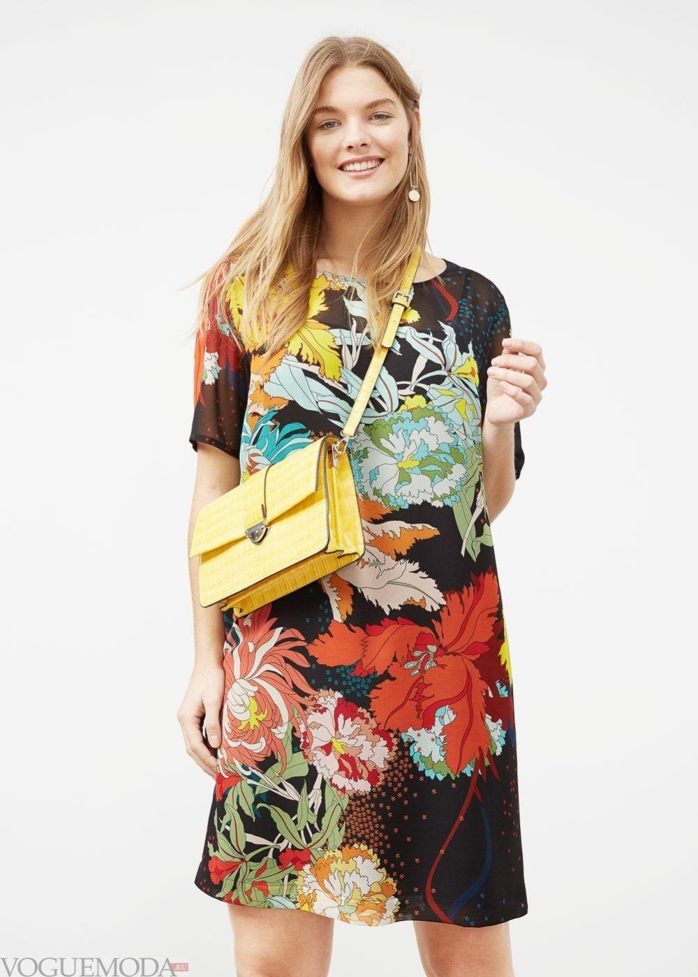 платья 2018 года модные тенденции фото: а-силуэт в цветы