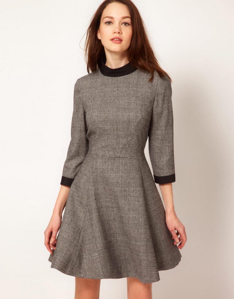 модные платья 2018: тенденции осень-зима серое рукав 3/4 свободная юбка