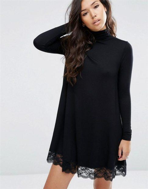 модные платья 2018: тенденции осень-зима черное кружевной низ рукав длинный