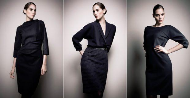 платья 2018 года модные тенденции фото: офисный стиль черные рукав 3/4 ниже колена