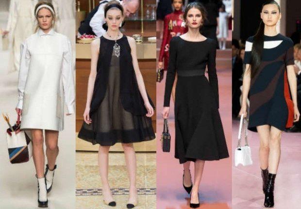 платья 2018 года модные тенденции фото: офисный стиль белое черное короткие миди с рукавом без