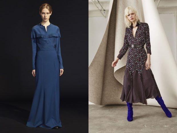 платья 2018 года модные тенденции фото: офисный стиль синее длинное в принт миди