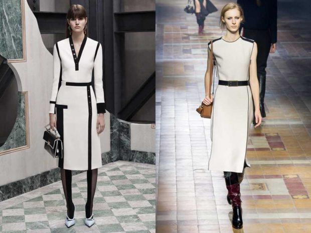 платья 2018 года: офисный стиль белое с черным футляр миди