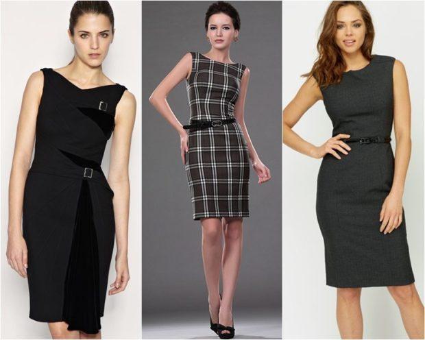 платья 2018 года: офисный стиль черное в клетку серое без рукава