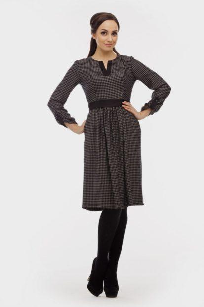 платья 2018 года модные тенденции фото: серое до колена длинный рукав