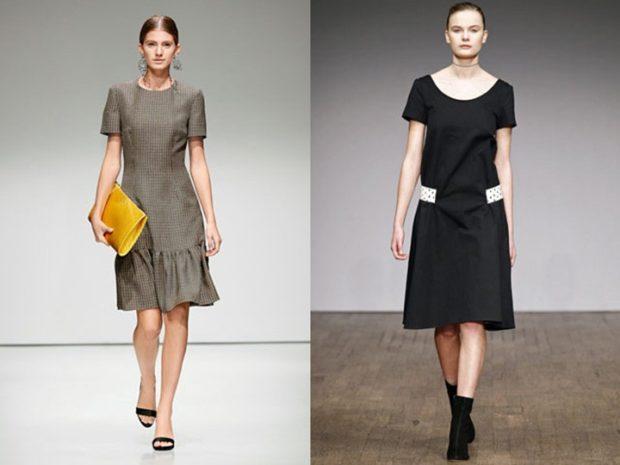 платья 2018 года: офисный стиль серое черное с коротким рукавом
