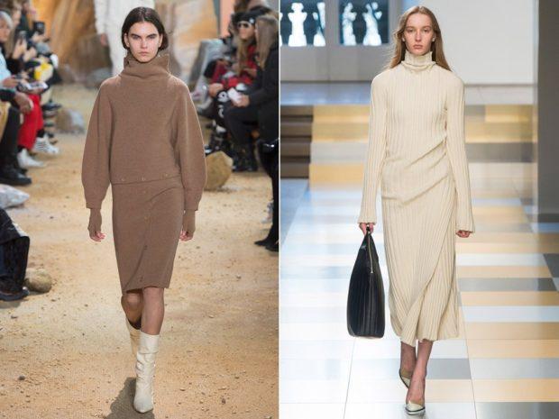 платья 2018 года: вязанные коричневые рукав фонарики белое миди
