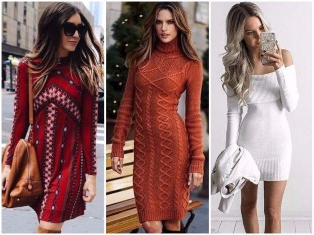 платья 2018 года: вязанные красное в принт коричневое белое плечи открыты