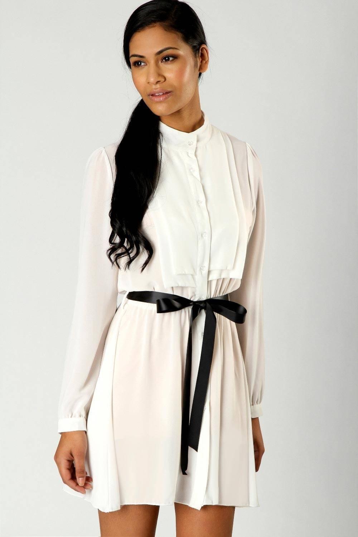 платья 2018: рубашка белое короткое под пояс
