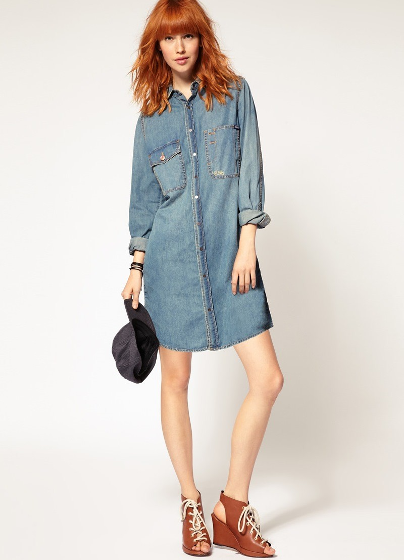 платья 2018: рубашка джинсовая рукав закатан