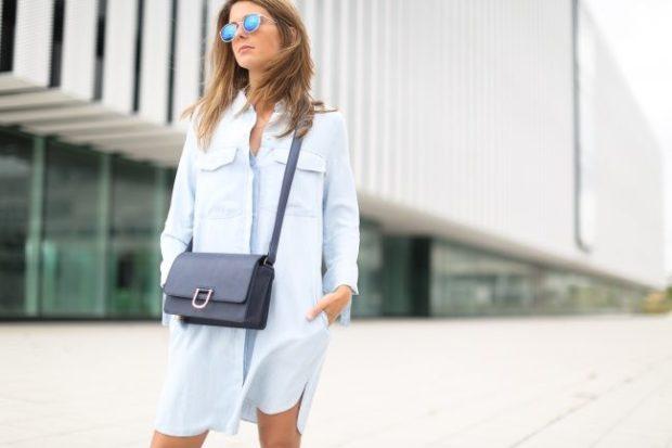 платья 2018: рубашка голубая