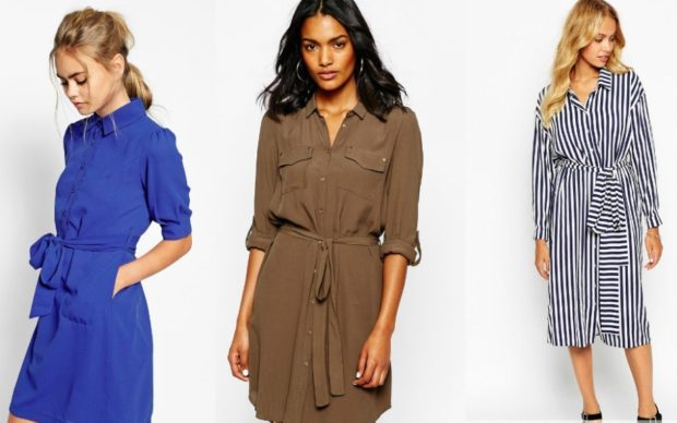 платья 2018: рубашка синяя коричневая в полоску