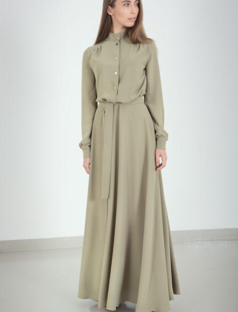 платья 2018: рубашка длинное зеленое