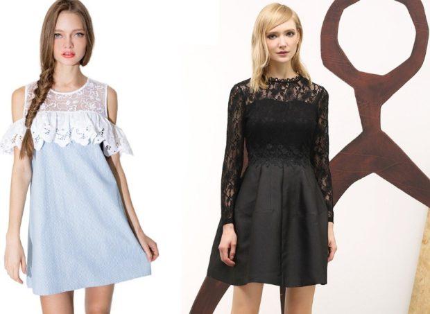 стильные платья 2018: короткое голубое открытые плечи черное верх в гипюр
