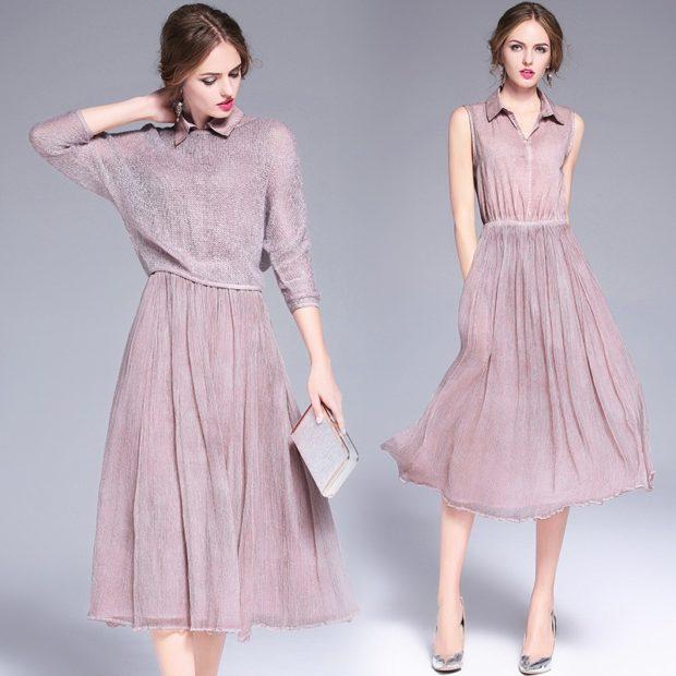 стильные платья 2018: легкое миди фиолетовое рукав 3/4 без рукава