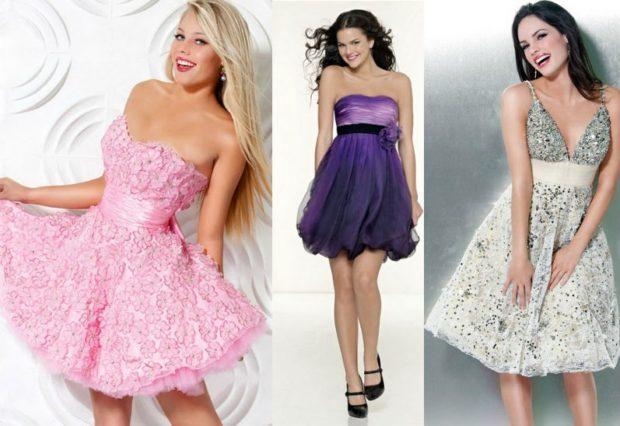 платья на выпускной 9 класс самые красивые: розовое сиреневое в прит бюстье