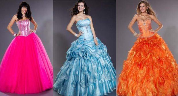самые красивые платья на выпускной 9 класс: розовое голубое оранжевое пышная юбка