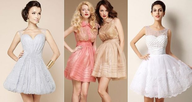 платья на выпускной 2018 2019 9 класс фото: короткие без плеч белые розовое золотое