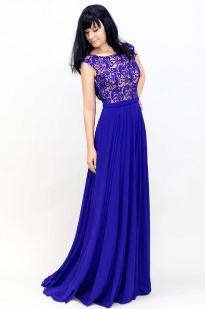 платья на выпускной 9 класс самые красивые: синее в пол без рукава