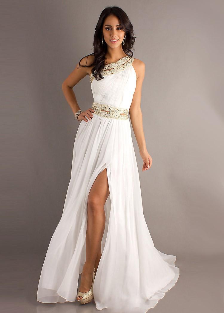 платья на выпускной 9 класс самые красивые : платье в греческом стиле белое  в пол