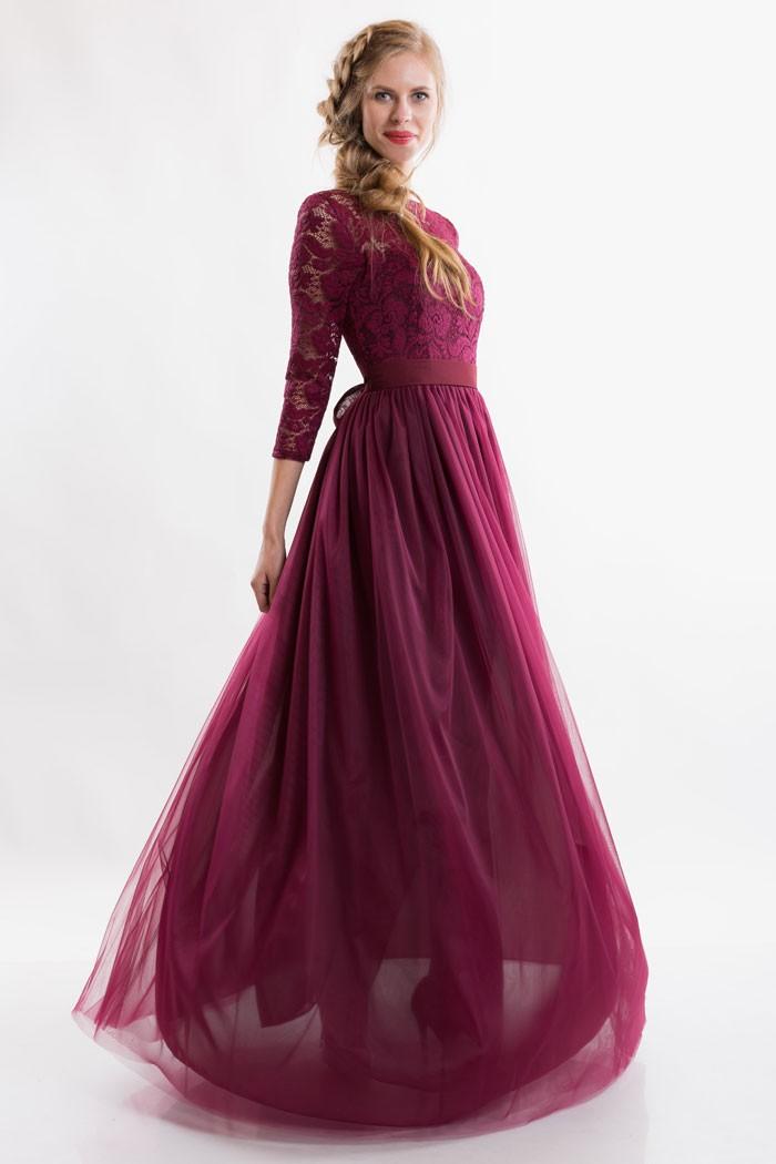 платья на выпускной 9 класс самые красивые:  бордовое в пол юбка шифон
