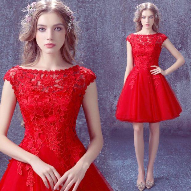 платья на выпускной 9 класс красивые: кружевное красное